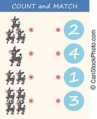 Count and match donkey cartoon. Math educational game for children