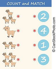 Count and match goat cartoon. Math educational game for children