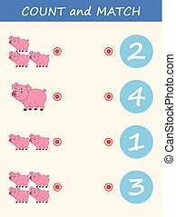 Count and match pig cartoon. Math educational game for children