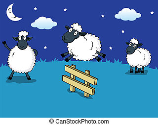 Vector Illustration Of counting sheep