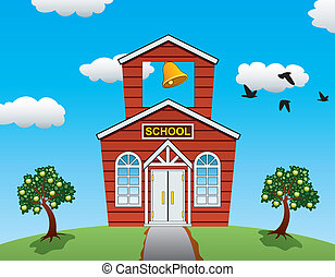 vector illustration of country school house, apple trees, clouds and flying birds