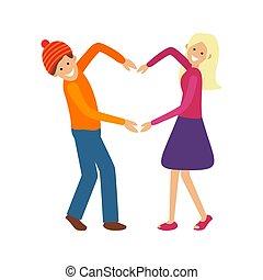 Vector Illustration of Couple Makes Heart Shape