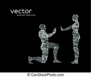 Vector illustration of couple on black background.