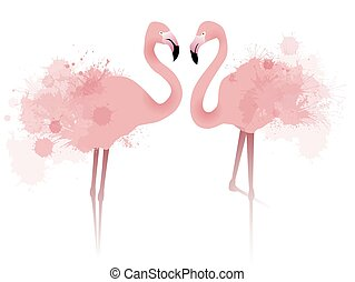 Vector illustration of couple pink flamingos with watercolor...