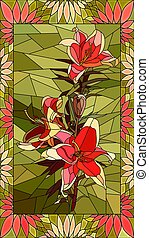 Vector illustration of couple red lilies.
