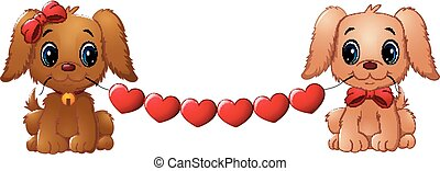 Couple valentine dogs with red heart