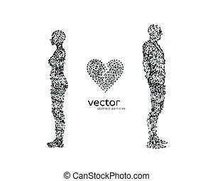 Vector illustration of couple with broken heart.