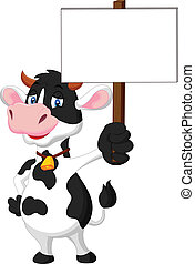 Cow cartoon holding blank sign - Vector illustration of Cow...