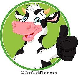 vector illustration of cow cartoon mascot