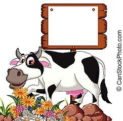 cow cartoon posing with board