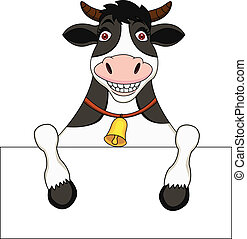 Cow cartoon with blank sign - Vector Illustration Of Cow...