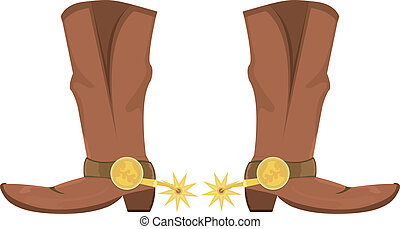 Vector illustration of cowboy boots with spoor - Vector...