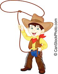 Cowboy kid twirling a lasso - vector illustration of Cowboy...