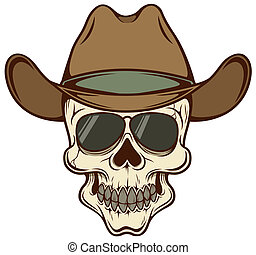 Cowboy skull - Vector illustration of Cowboy skull