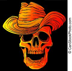 Vector illustration of Cowboy skull with hat