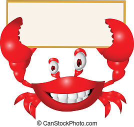 Vector illustration of Crab cartoon with blank sign