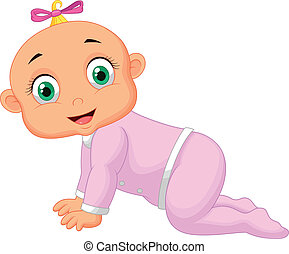Crawling baby girl cartoon - Vector illustration of Crawling...