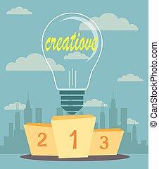 Creative ideas proudly standing on the winning podium. Flat style