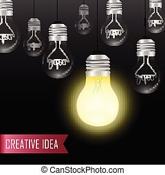 Creative light bulb Idea concept. Hanging light bulbs with glowing one on a black background