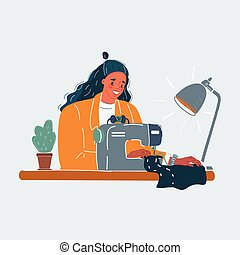 Vector illustration of creative woman using sewing machine on white background.