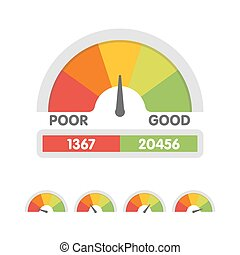 Vector illustration of credit score gauge. Speedometer icon in flat style. Performance Meter