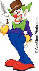 creepy clown cartoon - vector illustration of creepy clown ...