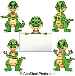 Crocodile cartoon set