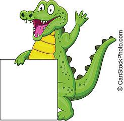 Crocodile cartoon with blank sign