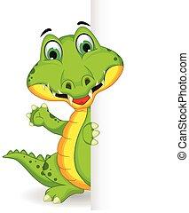 crocodile holding blank sign