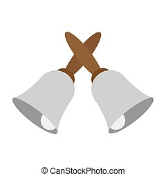 crossed hand bells icon - vector illustration of crossed ...