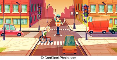 Vector illustration of crossing guard adjusting transport moving, city crossroads with pedestrian, disabled person.