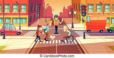 Vector illustration of crossing guard adjusting transport moving, city crossroads with pedestrians, disabled people.