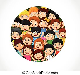 Crowd children cartoon with blank s - Vector illustration of...