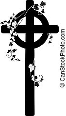crucifix and ivy - vector illustration of crucifix and ivy...