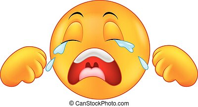 Crying emoticon cartoon - Vector illustration of Crying ...
