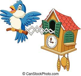 Cuckoo clock with blue bird chirping - Vector illustration...