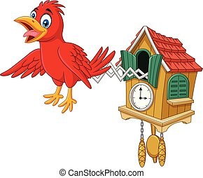 Cuckoo clock with red bird chirping - Vector illustration of...