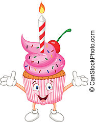 Cup cake cartoon with candle