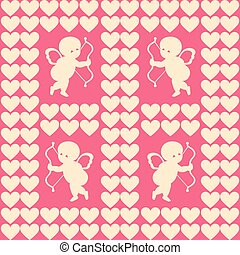 Vector illustration of cupid and hearts for Happy Valentine day