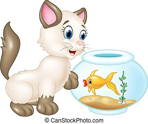 Vector illustration of Curious cat playing with swimming fish isolated on white background