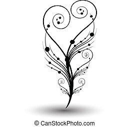 Vector Illustration of Curly Swirl Stems with a heart shape