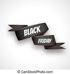 Vector illustration of curved paper banner. Ribbon. Black friday sale