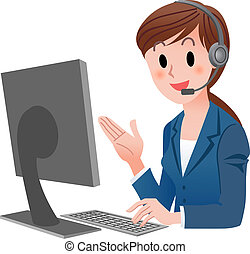 Vector illustration of Customer service representative at computer in headset. isolated on white.