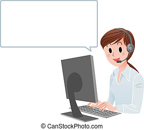 Vector illustration of Customer service woman at computer with speech balloon. isolated on white.