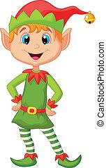 Cute and happy looking christmas el - Vector illustration of...
