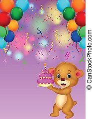 Cute baby bear holding birthday cak