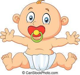 Cute baby boy sitting with pacifier - Vector illustration of...