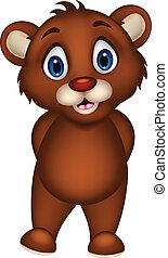 cute baby brown bear cartoon posing