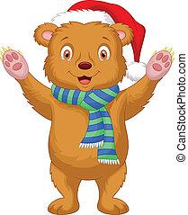 Cute baby brown bear cartoon wearin