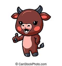 Cute baby bull cartoon giving thumb up